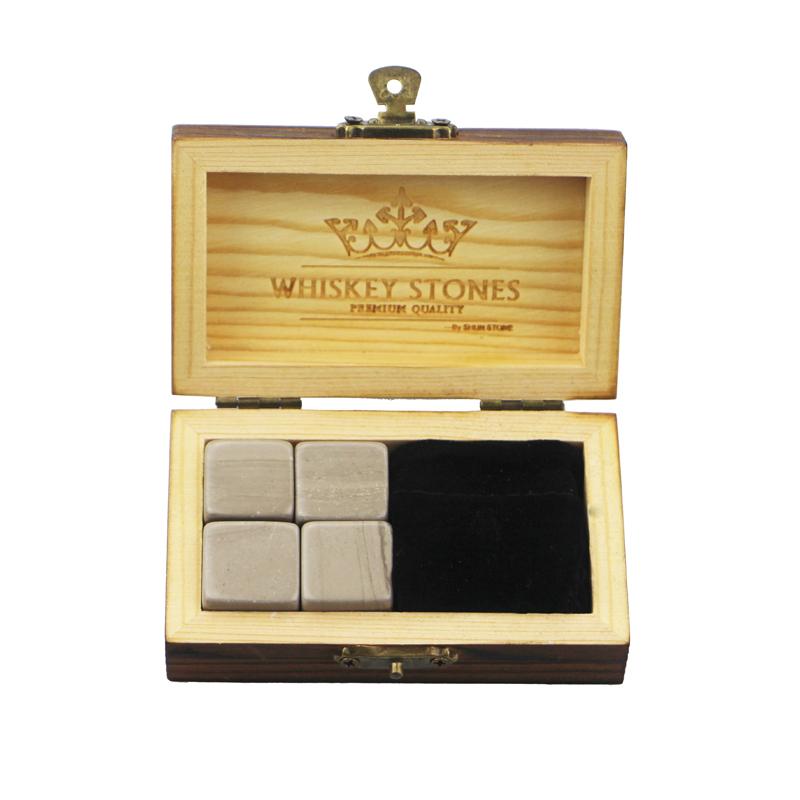 2017 Good Quality Whiskey Stone - Amazon Hot Wholesale 4 pcs of Antiquity Wood Grain Rock Stones Cube Whisky Stones Hot Sale Whisky Stone Gift Set with Wooden Box – Shunstone