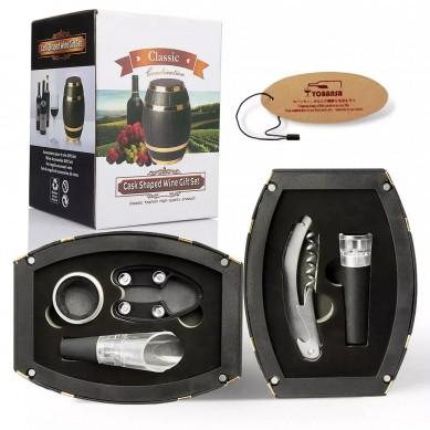 SHUNSTONE Hot Sale Wine Barrel Shaped Wine Accessories Gift Set Wine Opener Corkscrew