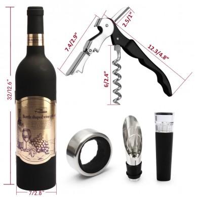 SHUNSTONE Hot sale bottle shaped 5 pieces wine accessories gift set wine opener wine stopper set