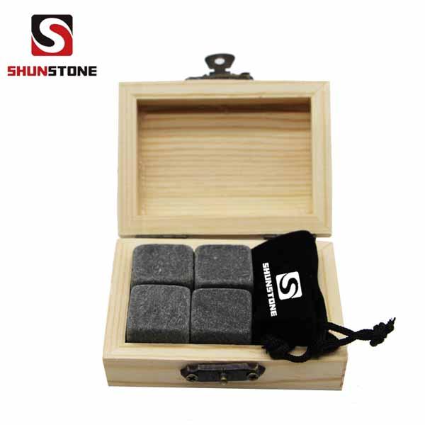 China Factory for Cold Stone - 4pcs of Promotional Grey Ice stone Gift Item Whiskey Stones Gift Set with Velvet Bag small stone gift set  – Shunstone