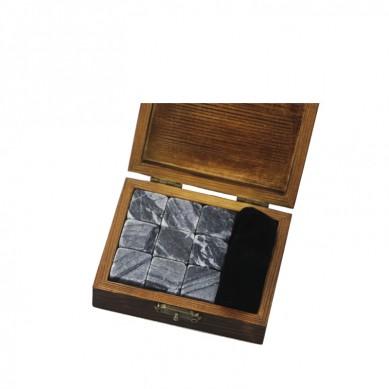Antiquity Wood Grain 9 pcs of Whisky Stones Souvenir Chilling Whiskey Stones Bar Accessories  Whiskey Stones Velvet Bag