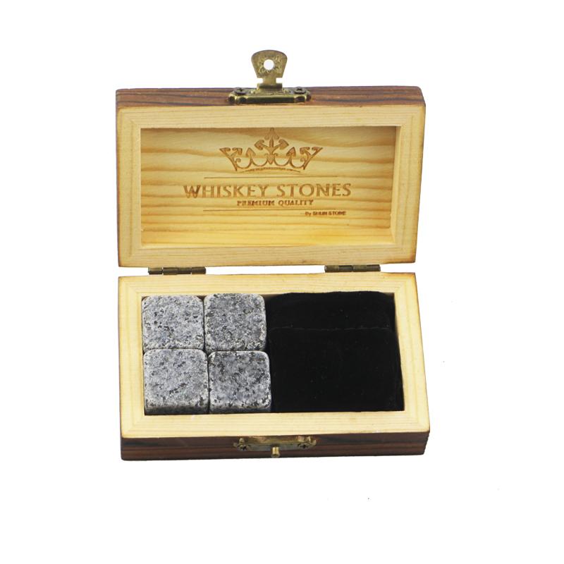 100% Original Grey Whiskey Stones - Hot product 4pcs of porphyry whiskey stone and black velvet bags into Outer Burning Wood Box high quality – Shunstone