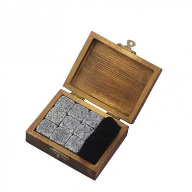 Small wooden gift 9 pcs of 654 Wine Chilling Rocks Whisky Stone Dice Ice Cube Customized Logo Whiskey Stones ,Reusable Whisky Ice Stones