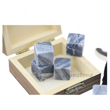 2019 New Hottest Whisky Wine Stone Ice Cube Ice 9 pcs of Wine Chilling Rocks Whiskey Stone Set Gift Wood Box Package Novelty Wine Gifts