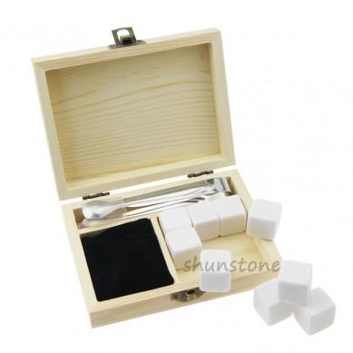 Set of 9pcs Wine cooler Log colour wooden box whiskey stone Customized Promotion Pine Wood Box