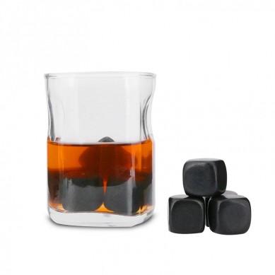 Premium Whisky Ice Rocks polish black chilling stone Set of 9 whiskey Stones with velvet bag in Magnetic buckle box