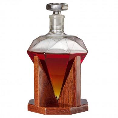 Diamond Decanter For Whiskey, Liquor, Scotch, Rum, Bourbon, Vodka, Tequila Decanter, The Wine Savant 750ml