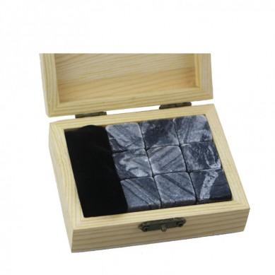 High quantity Wholesale whisky Chilling Stones 9 pcs Whiskey Stone Set Creative Gift Set Custom Whiskey Wine Ice Stone with Wooden Box
