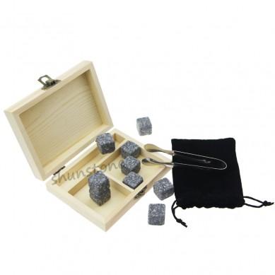 9 pcs of hot Whiskey Rock Stones Set with Ice Tongs Bestselling 9pcs Whiskey Stones Gift Set from SHUNSTONE