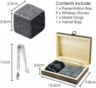 100% nature granite Whiskey Rocks reusable chilling stone set best wine gift for men