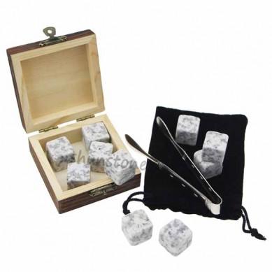 Wholesale price Wooden Box Gift Set 9pcs of Wine Chilling Rock Whiskey Stone