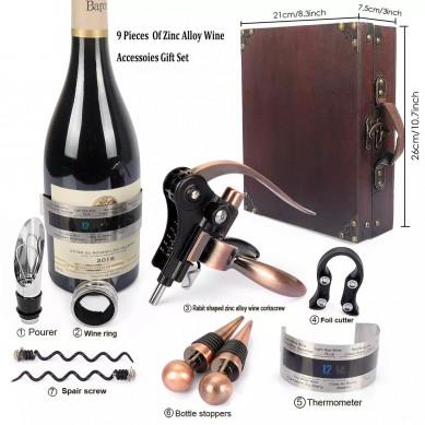 SHUNSTONE Antique Wooden Box Rabbit Wine Corkscrew Wine Accessories Gift Set