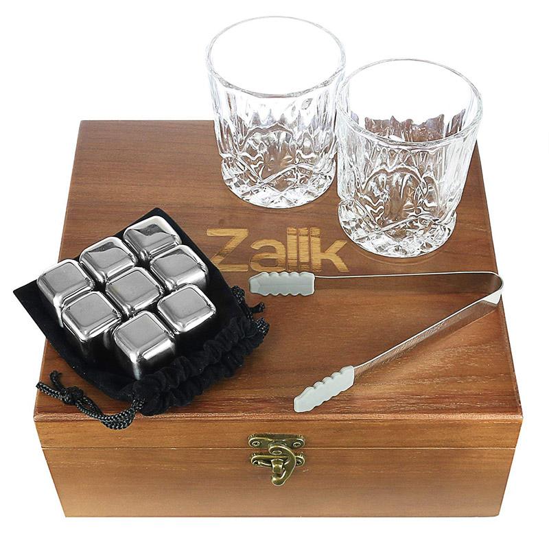 Trending ProductsCooking Stone - Zalik Whiskey Stones Gift Set – Set Of 8 Stainless Steel Beverage Chilling Rocks Ice Cubes Includes 2 Whiskey Glasses, Velvet Bag, Tongs With Elegant Wooden Gift Box – Shunstone