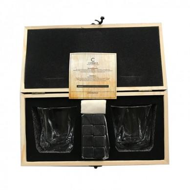 Popular Big Volume Heavy Based Whiskey Glasses Gift Set with Kraft Box Packaging