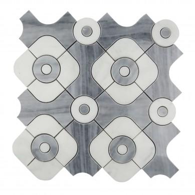 marble flooring design 3/8″ marble waterjet mosaic tiles