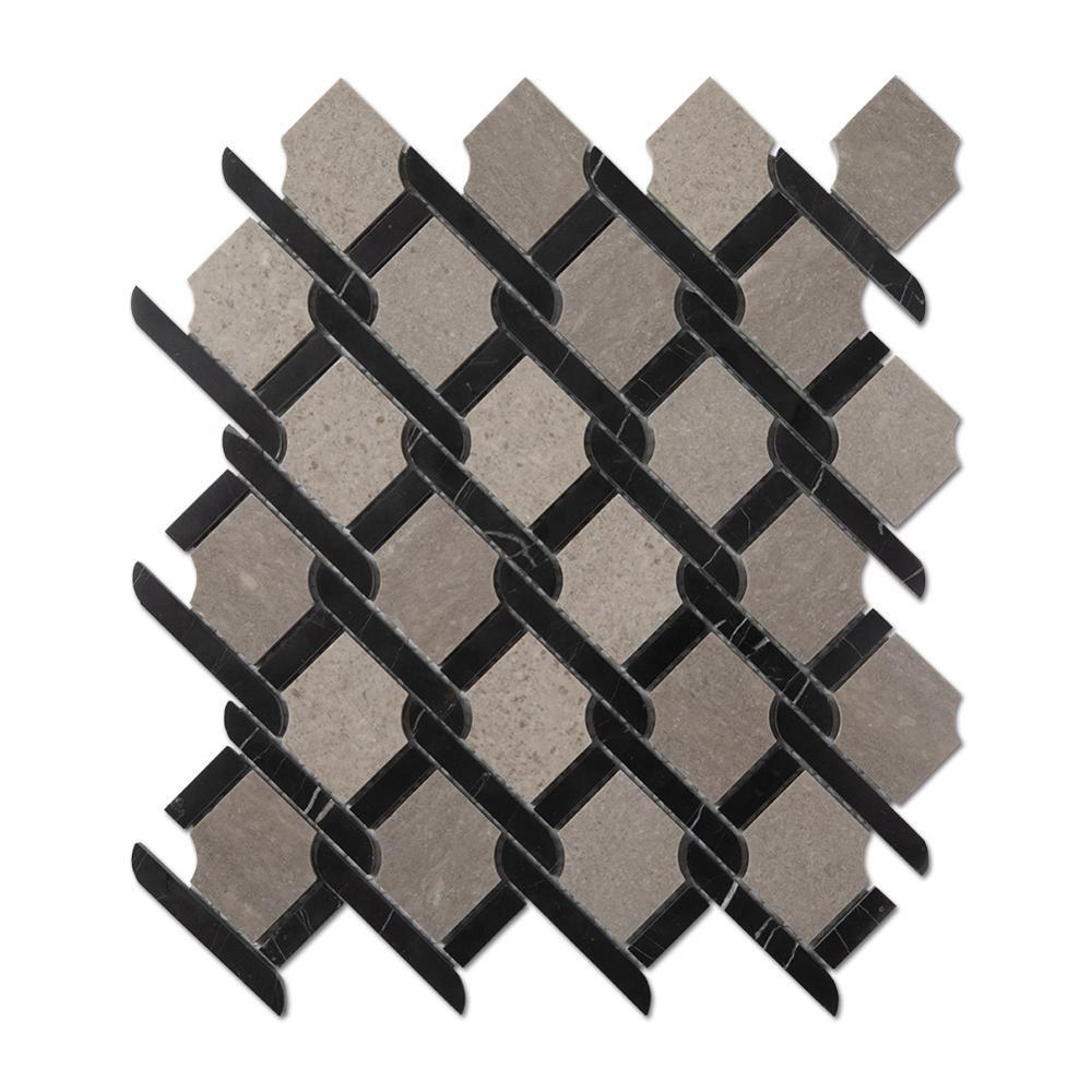 Bathroom Floor Cinderella Grey Marble Mosaic Tile On Mesh Featured Image