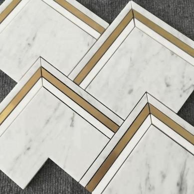 Brass and Bianco Carrara Marble Waterjet Mosaic Tiles Mosaic