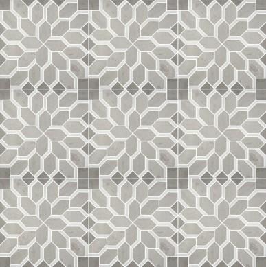 Carrara Grey and Thassos White Flower Design Mosaic for Bathroom Floor Tiles