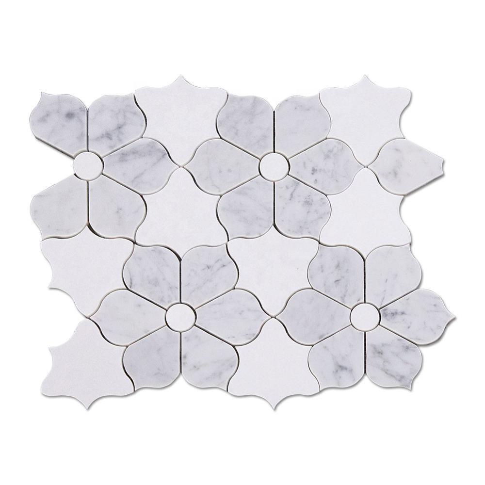 Carrara Mixed White Thassos Waterjet Art Flower Marble Mosaic Tile Featured Image