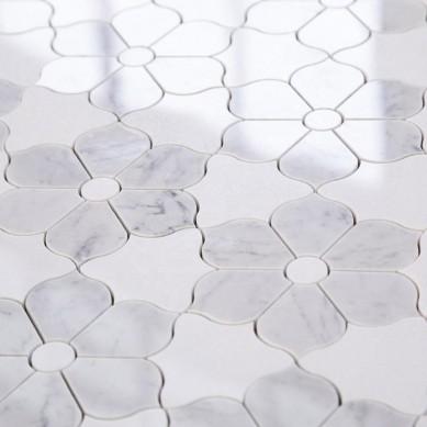Carrara Mixed White Thassos Waterjet Art Flower Marble Mosaic Tile