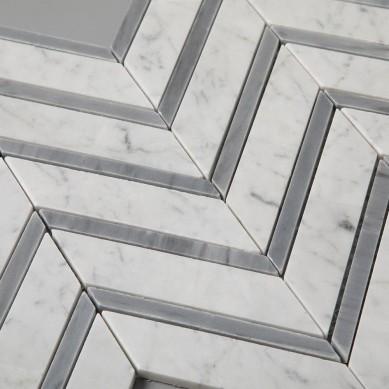 Carrara White Mixed Carrara Grey Color Chevron Carrara Marble Mosaic Tile