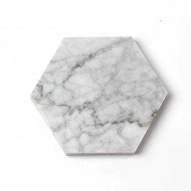 Set of 4 Pcs Hexagonal Carrara White Marble Coasters With Bamboo Tray Holder