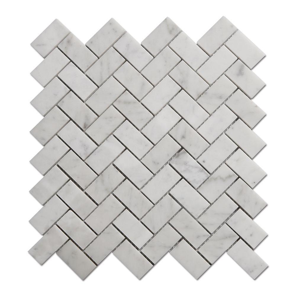 PriceList for Whiskey Stones Bullet - China Factory Carrara Marble Mosaic Bathroom Herringbone Marble Mosaic – Shunstone