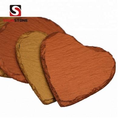 Amazon ebay hot sale wholesale color slate stone drink coasters cup mat gold heart shape coaster