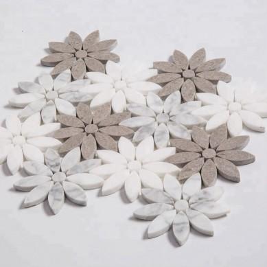 Flower Pattern White Carrara Waterjet Marble Mosaic for Kitchen Backsplash