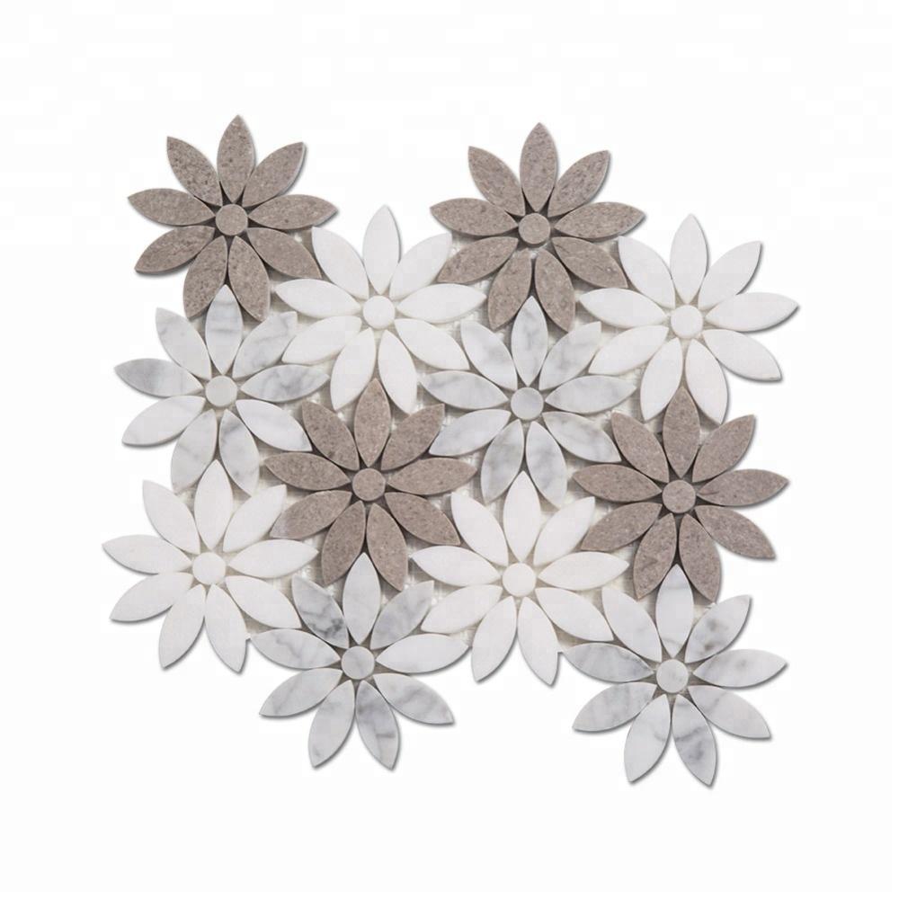 Flower Pattern White Carrara Waterjet Marble Mosaic for Kitchen Backsplash Featured Image