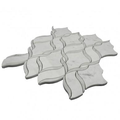 Italian Bianco Carrara White Mixed Chinese Grey Marble Waterjet Mosaic Tiles