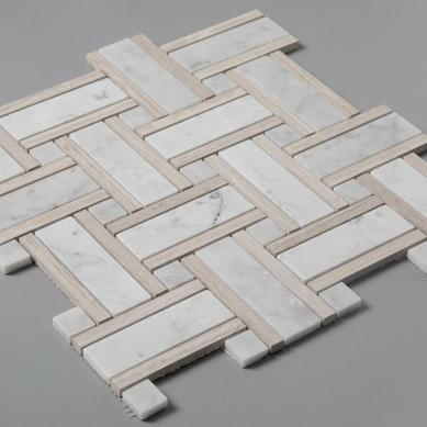 Light Wooden Carrara Marble Basketweave Mosaic Bathroom Floor Tiles