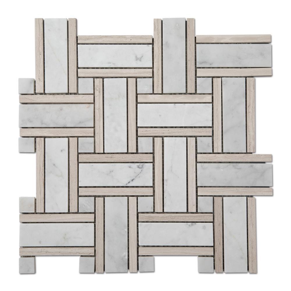 Light Wooden Carrara Marble Basketweave Mosaic Bathroom Floor Tiles Featured Image