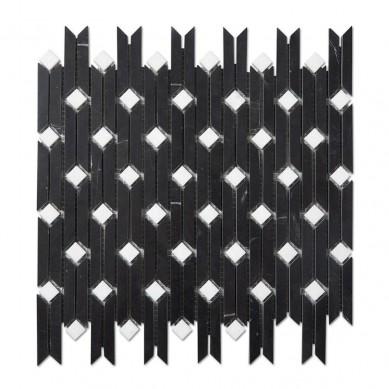 Marquina Bamboo Mosaic Natural Stone Marble Black Mosaic Tile