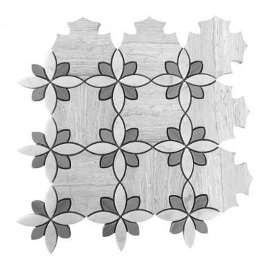 New Design China White marble beautiful waterjet mosaic tile