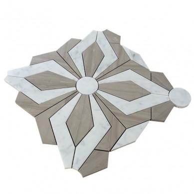 New design water jet shape carrara marble mosaic tile