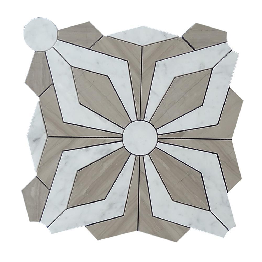 OEM Customized Ice Cube Whisky Stone - New design water jet shape carrara marble mosaic tile  – Shunstone