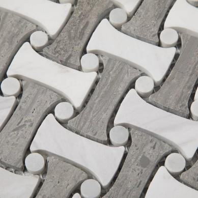 Norway Blue Marble Basket Dogbone Stone Mosaic Tiles Floor