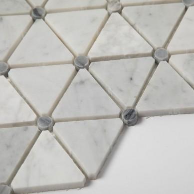 Soft Triangle White Carrara Marble Mosaic Tiles For Kitchen or Backsplash