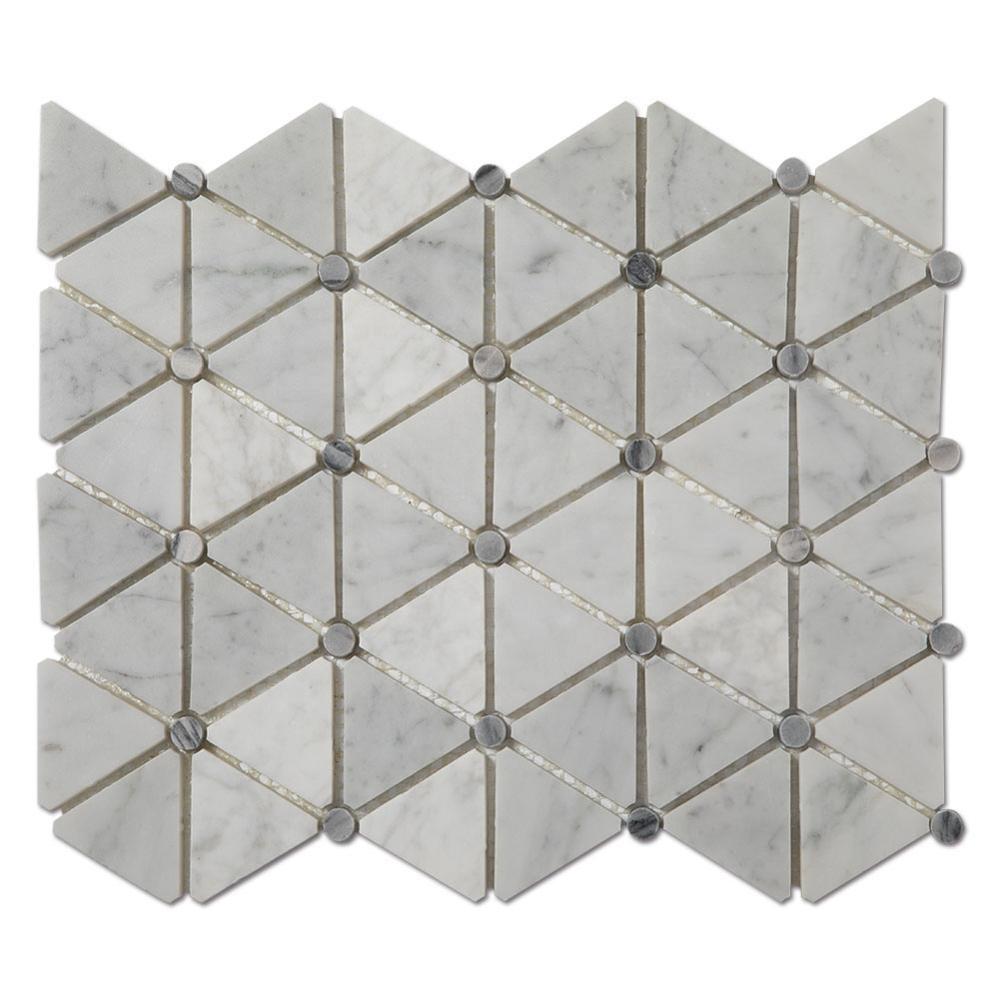 Cheap PriceList for Black Stone - Soft Triangle White Carrara Marble Mosaic Tiles For Kitchen or Backsplash  – Shunstone