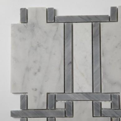 Soulscrafts Carrara White Mixed Grey Marble Natural Mosaic Stone Tile