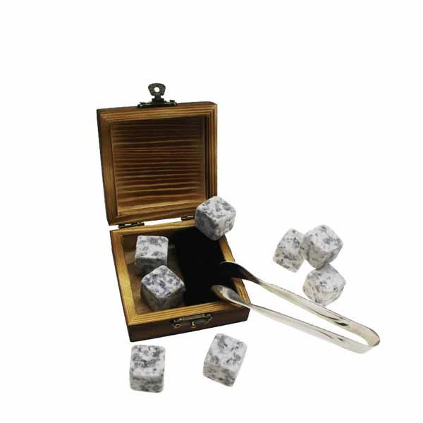 Hot Selling for Stone Roller Massage - 6pcs of 603 Whisky Stones Cold Rocks For Drinks + velvet bags + inside and outside burning wooden boxes Natural Granite Whiskey Stones Gift Set – Shuns...