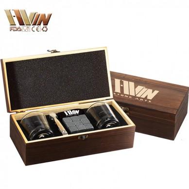High-end Whiskey Stones Gift Set 9 Whiskey Stones with 1 Velvet Bag 2 Delicate Whiskey Glasses in Color Wooden Box