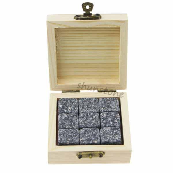9 pcs of whiskey rocks Promotion Liquor and Wine Cooler Black Rocks Chilling Stones Whiskey Ice Stones Granite Gift Set Featured Image