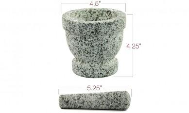 Granite grey color Herb / Natural Stone Mortar and Pestle / Molcajete Guacamole Mortar and Pestle