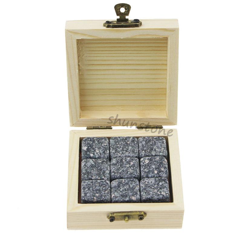 Factory Promotional Premium Whiskey Stone Set - 9 pcs of whiskey rocks Promotion Liquor and Wine Cooler Black Rocks Chilling Stones Whiskey Ice Stones Granite Gift Set – Shunstone