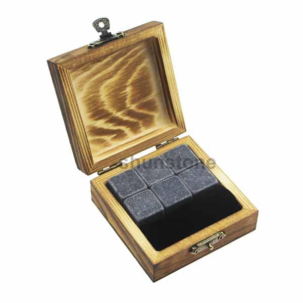 Factory For Whiskey Glass Gift Set - New product 6pcs of whisky rock Mongolian grey + Black velvet bags into inside and outside burning wooden boxes – Shunstone