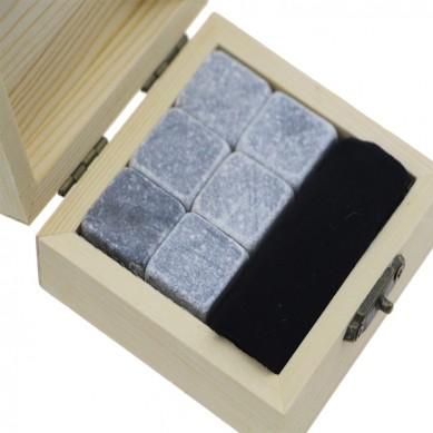Popular 6 pcs of Whisky Stones Cold Rocks For Drinks Natural Granite Whiskey Stones Gift Set