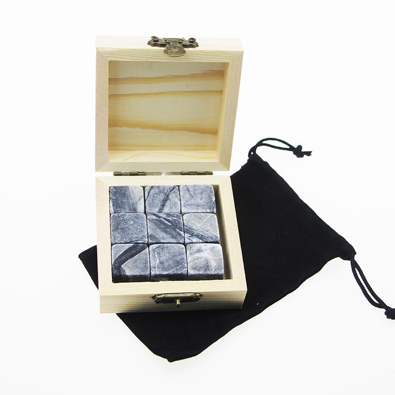 Europe style for Stone Whiskey - Cheap 9pcs Dark Grey Basalt Whiskey Stones with Natural Wooden Box – Shunstone