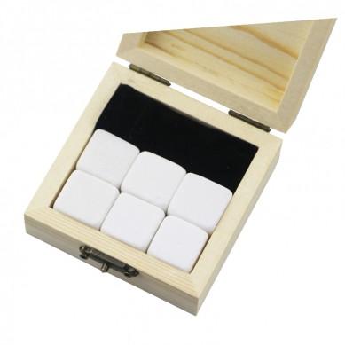 Populär gåva 6 st Pearl White Whisky Chilling Rocks Anpassa Packaging Whiskey Stones Set of Natural kuber med sammetspåse
